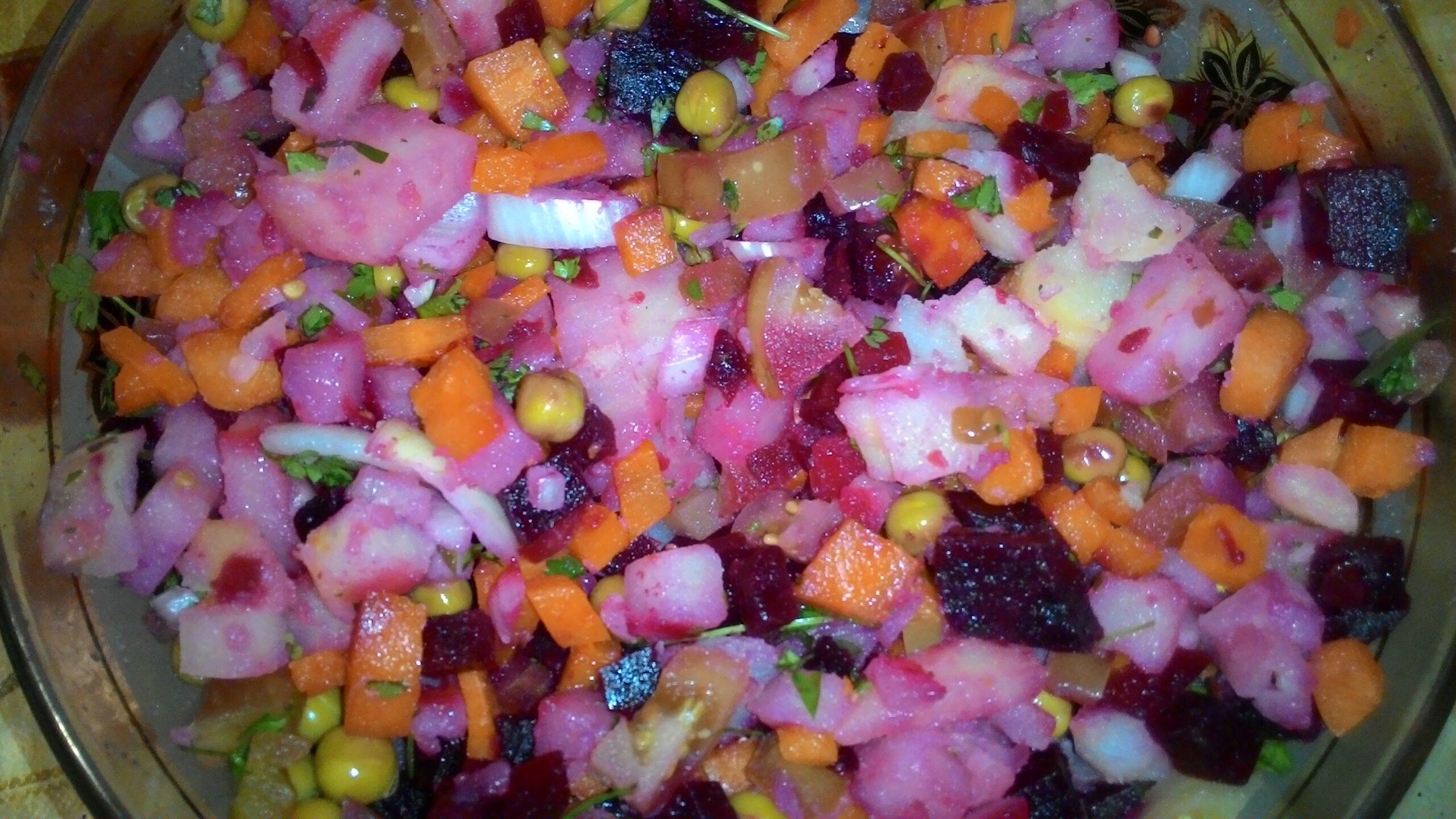 Лайфхак: винегрет с кукурузным маслом и солеными помидорами