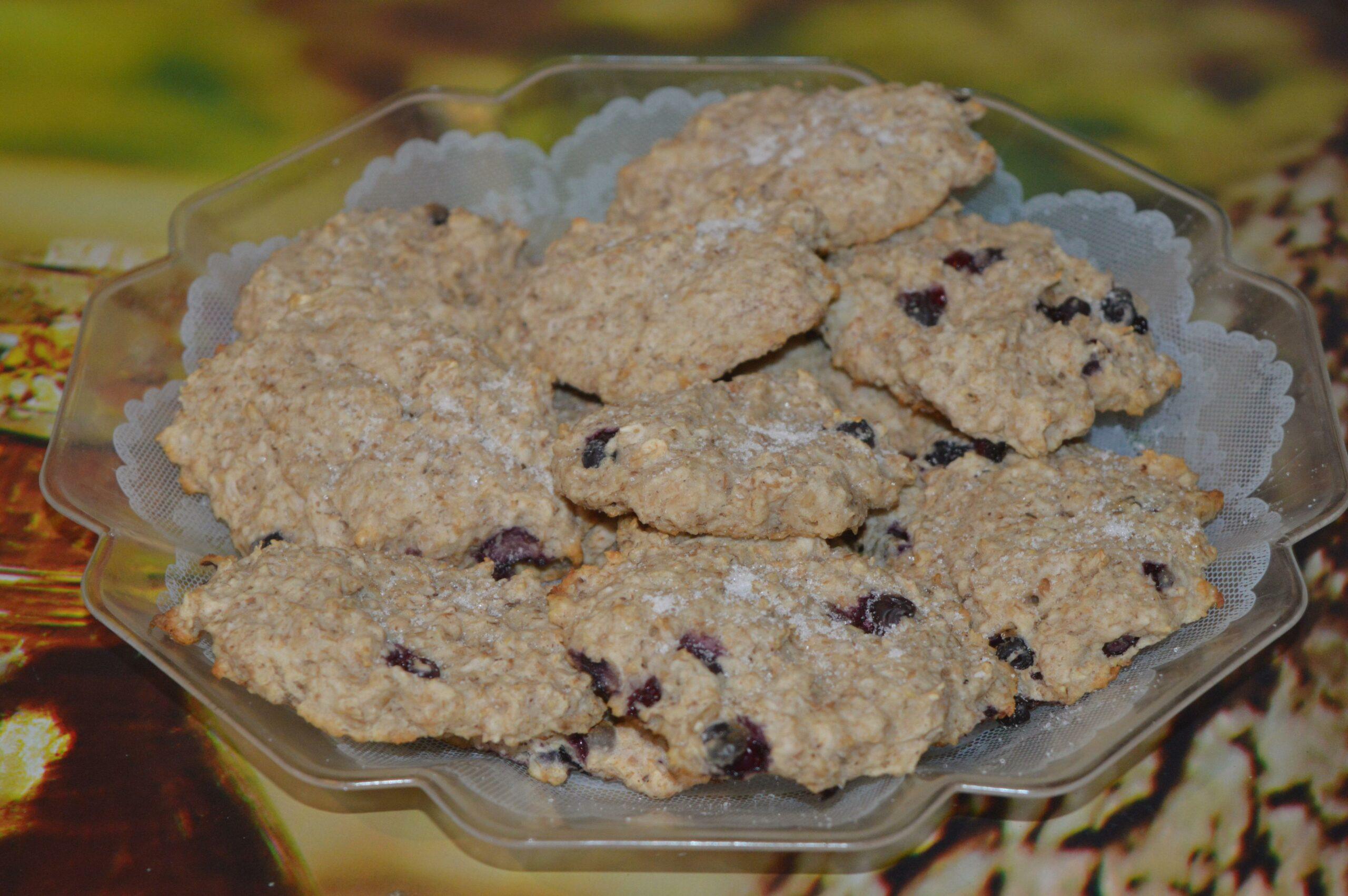 Рецепт вкусного овсяного печенье с черникой